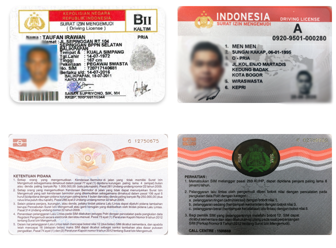 Driver's licenses in Indonesian
