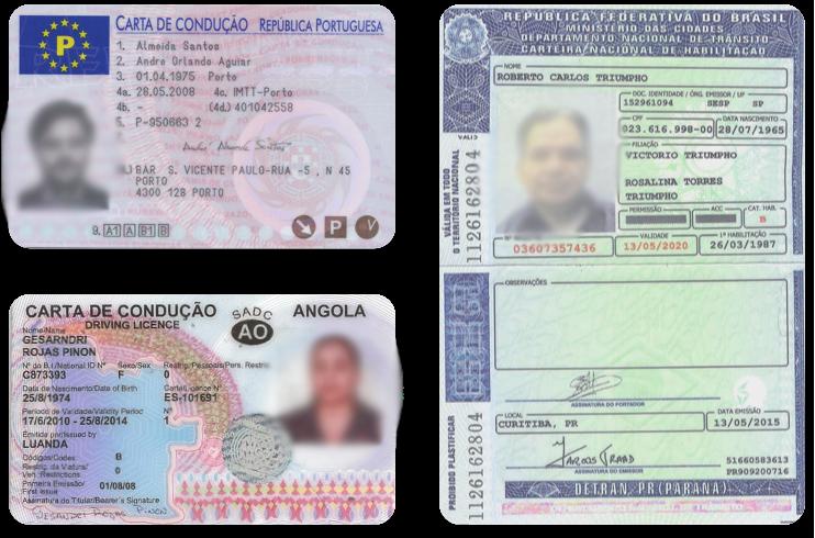 Водительские удостоверения на португальском