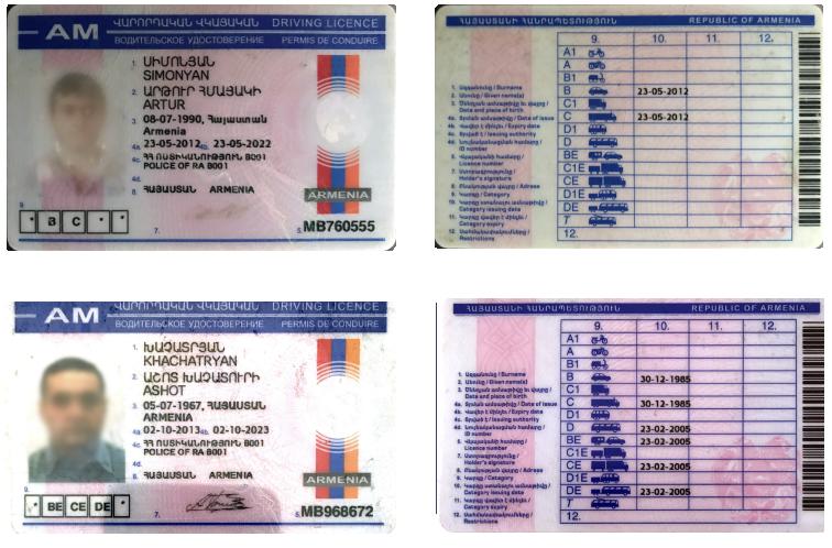 Licencias de conducir en armenio