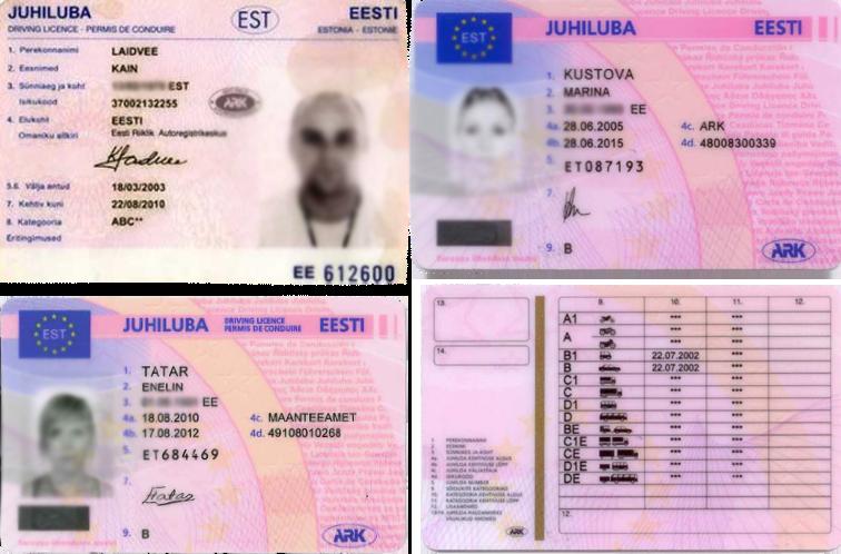 Licencias de conducir en estonio